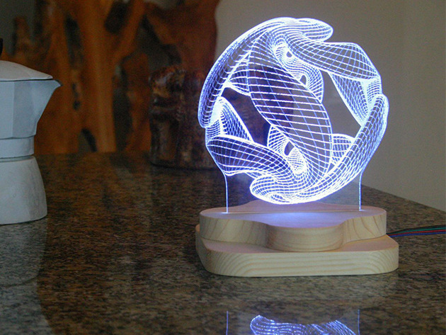 'Blue Pine Studio' 3D-Illusion Lighting Sculpture for $79